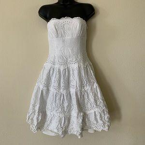 BCBG White Eyelet Lace Tiered Strapless Dress XS